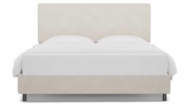 Square Back Bed   King   White Velvet - The Inside