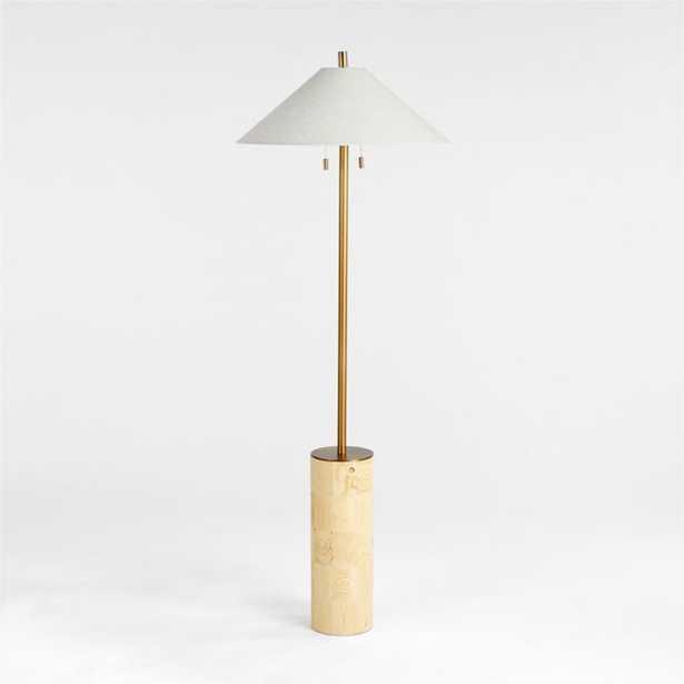 Tierra End Grain Wood Floor Lamp - Crate and Barrel