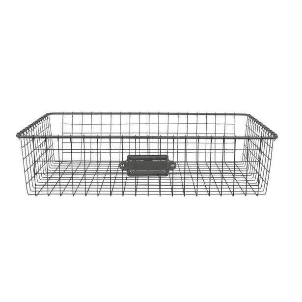 Spectrum 16 in. D x 12 in. W x 4 in. H Industrial Gray Vintage Steel Wire Storage Basket - Home Depot