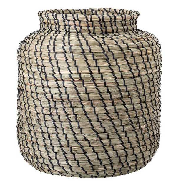 Bloomingville Black & Beige Handwoven Seagrass Basket - Perigold