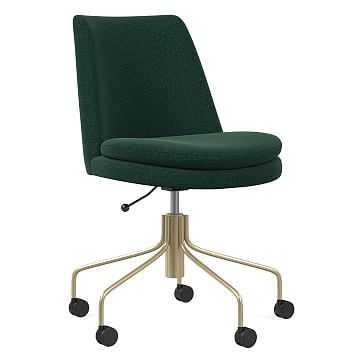 Finley Office Chair, Distressed Velvet, Forest, Antique Brass - West Elm