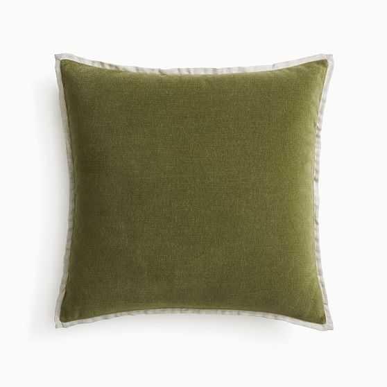 "Classic Cotton Velvet Pillow Cover, 20""x20"", Dark Olive, Set of 2 - West Elm"