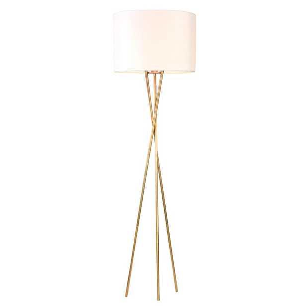 Warehouse of Tiffany Yaram 62 in. 1-Light Indoor Polished Brass Floor Lamp - Home Depot