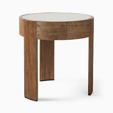 Portside Round Concrete Side Table, Concrete, Driftwood - West Elm