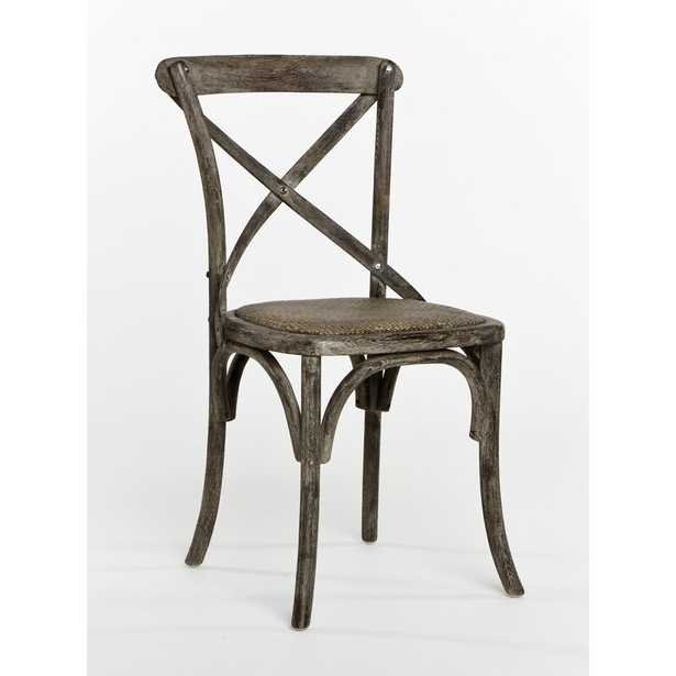 Zentique Parisienne Cafe Solid Wood Cross Back Dining Chair Color: Limed Charcoal Oak - Perigold