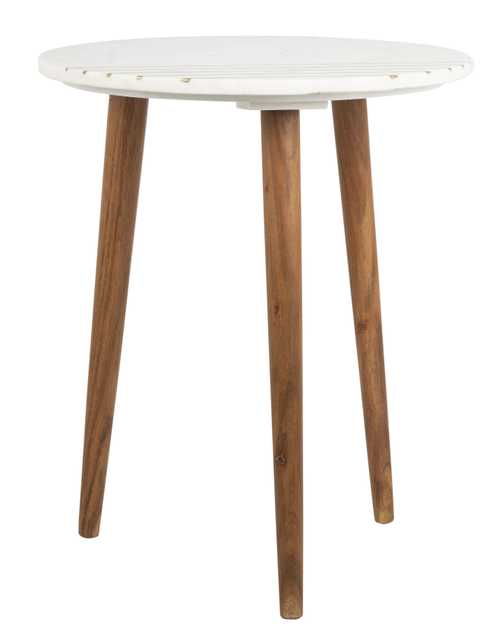 Valerie Round Marble Accent Table - Natural Brown/White/Gold - Arlo Home - Arlo Home