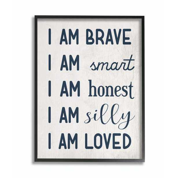 """Stupell Industries """"I am Loved Family Kids""""by Daphne Polselli Framed Wall Art 14 in. x 11 in., Grey - Home Depot"""