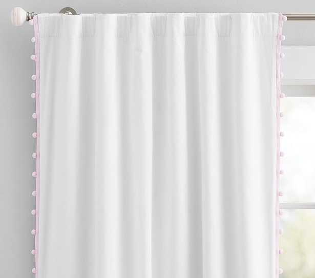 Cotton Pom Blackout Panel, 96 Inches, Light Pink, Set of 2 - Pottery Barn Kids