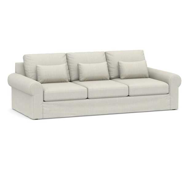 """Big Sur Roll Arm Slipcovered Deep Seat Grand Sofa 106"""", Down Blend Wrapped Cushions, Performance Heathered Basketweave Dove - Pottery Barn"""