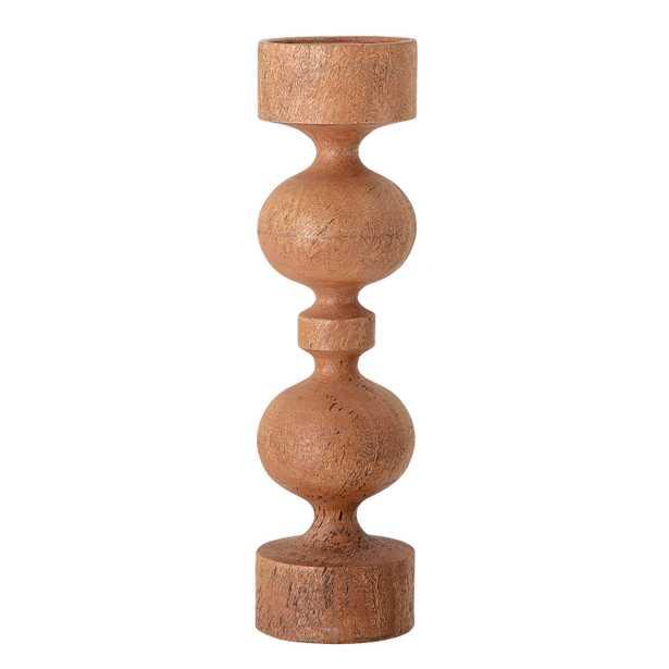 "18""H Carved Mango Wood Candleholder (Holds 4"" Pillar Candle) - Moss & Wilder"