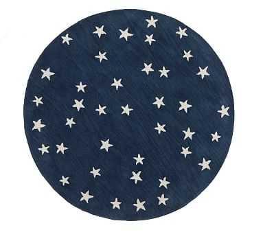 Starry Skies Round Rug ,5 Ft Round, Navy - Pottery Barn Kids