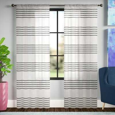 Winterbourne Down Striped Sheer Rod Pocket Curtain Panels - Birch Lane