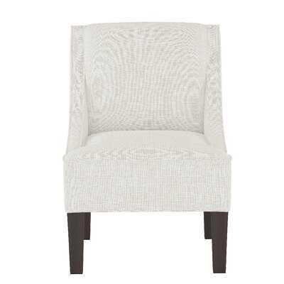 Swoop Arm Chair With Wooden Block Legs In Buffalo Square Blue - Wayfair