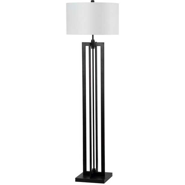 Safavieh Tanya Tower 58.5 in. Black Floor Lamp with Off-White Shade - Home Depot