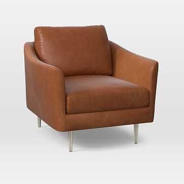 Sloane Chair, Poly, Saddle Leather, Nut, Light Bronze - West Elm