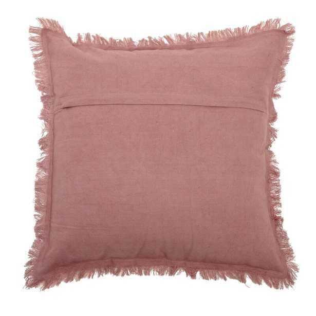 Bloomingville Grey Cotton Blend Corduroy Pillow With Eyelash Fringe & Fabric Back Color: Plum - Perigold