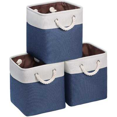 Storage Cubes 10.5'' X 10.5'' X 11''Fabric Baskets For Storage With Cotton Rope Handles Storage Bins For Cube Organizer For Shelves Closet Nursery Navy Bule & White Set Of 3 - Wayfair