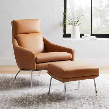 Austin Leather Armchair & Ottoman Set - West Elm