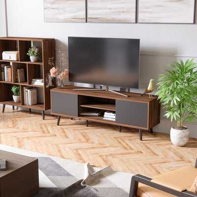 George Oliver TV Stand Mid Century Entertainment Centre For Tvs Up To 65 Inch Corner Media 2 Door Storage Cabinet With Shelf Wood Modern Cable Box Gaming Console For Living Room,Rustic Brown - Wayfair