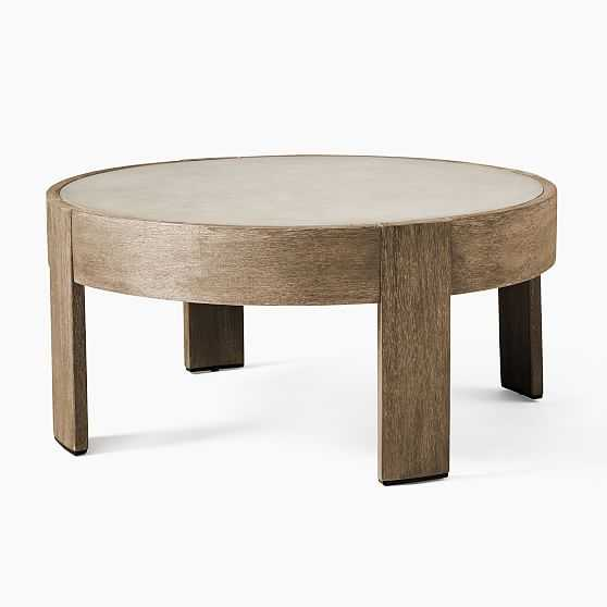 Portside Round Coffee Table, Concrete, Driftwood - West Elm