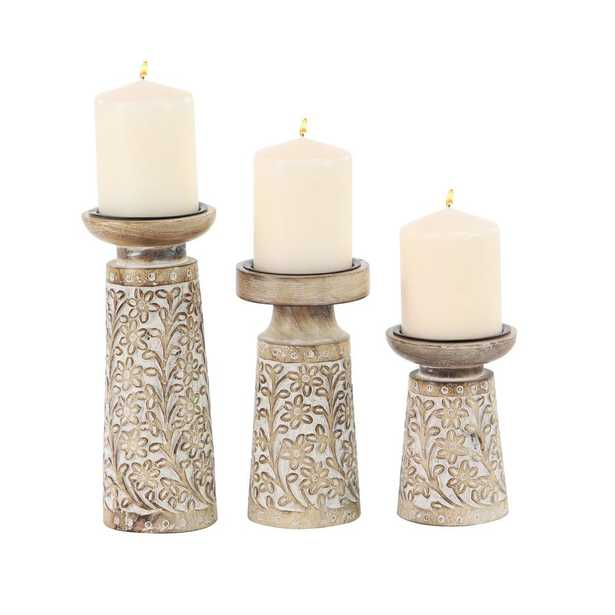 Brown Iron and Wood Candle Holders with White Accents (Set of 3) - Home Depot