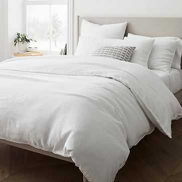European Flax Linen Pom Pom Duvet, King/Cal. King Set, White - West Elm