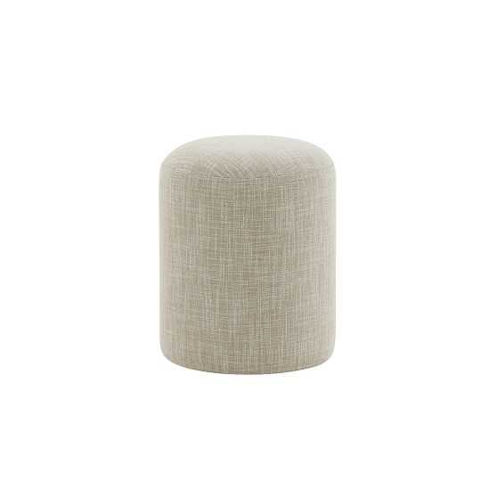 Auburn Ottoman, Poly, Yarn Dyed Linen Weave, Natural, Concealed Support - West Elm