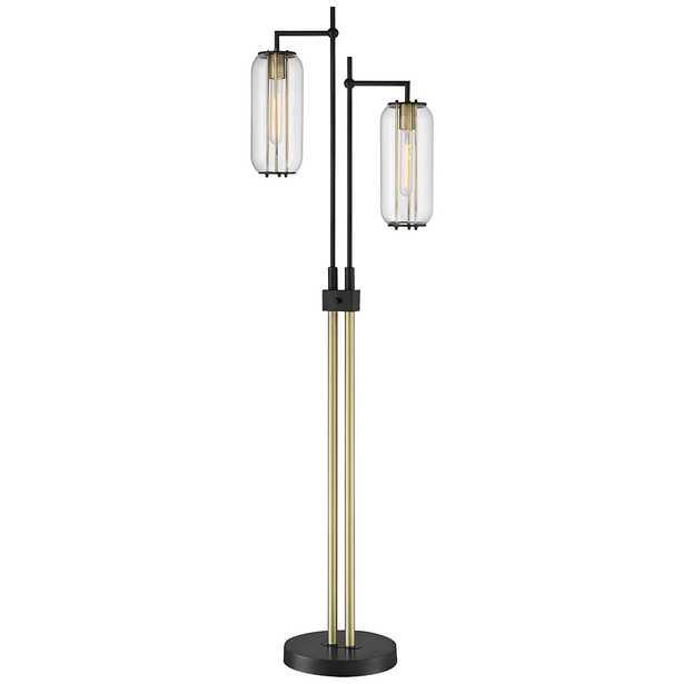 Lite Source Hagen Black and Antique Brass 2-Light Floor Lamp - Style # 87W61 - Lamps Plus