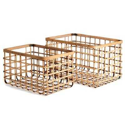 2 Pieces Rattan Basket Set - Wayfair
