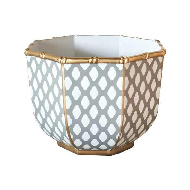 "Dana Gibson Inc. Bamboo Metal Decorative Bowl Size: 8"" H x 11"" W x 11"" D, Color: Parsi Gray - Perigold"