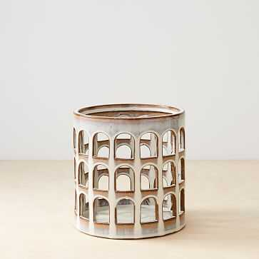 Ceramic Cutout Lanterns, Wide, White Terracotta - West Elm