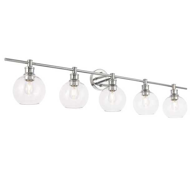 """Collem Quintuple Sconce, 47"""", Chrome and Clear Glass - Pottery Barn"""