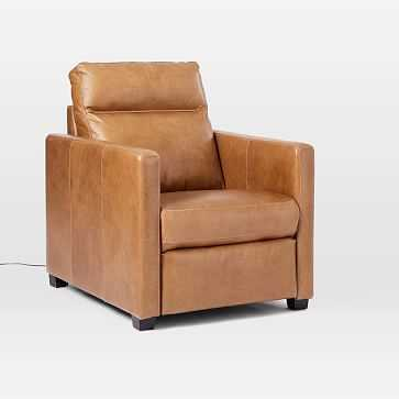 Harris Leather Power Recliner, Saddle Leather, Nut, Chocolate - West Elm
