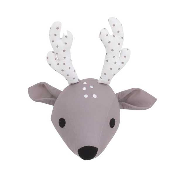 NoJo Taupe and White Deer Plush Head Wall Decor, Brown - Home Depot