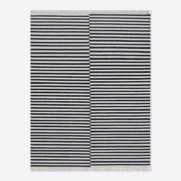 Staggered Stripe Rug, Iron, 9'x12' - West Elm