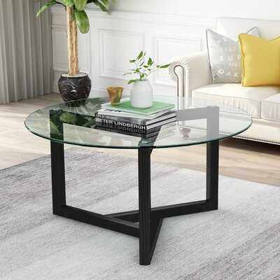 Round Glass Coffee Table Modern Cocktail Table With Tempered Glass - Wayfair