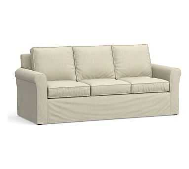 """Cameron Roll Arm Slipcovered Sofa 88"""", Polyester Wrapped Cushions, Chenille Basketweave Oatmeal - Pottery Barn"""