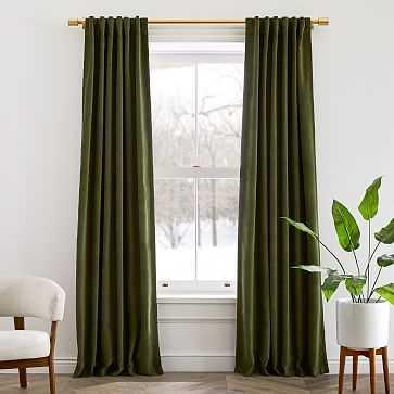 "Worn Velvet Curtain, Tarragon, 48""x84"", Set of 2 - West Elm"