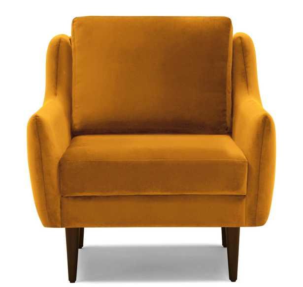 Yellow Bell Mid Century Modern Chair - Cordova Amber - Mocha - Joybird