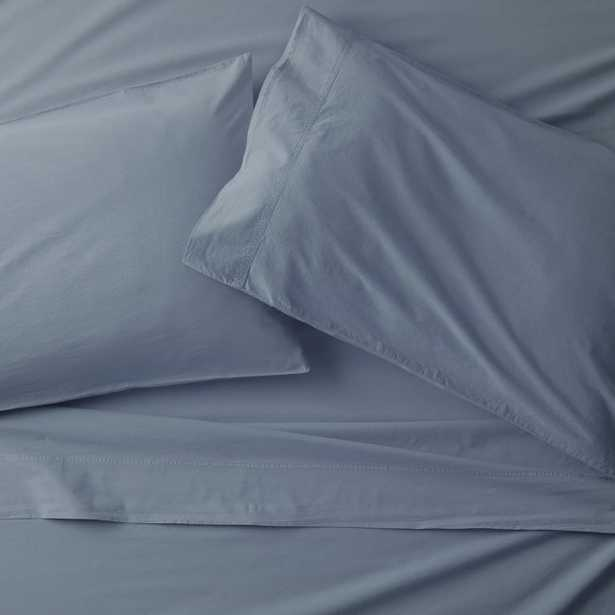 Washed Organic Cotton Blue Queen Sheet Set - Crate and Barrel