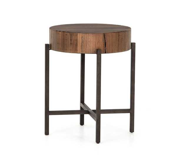 Fargo Reclaimed Wood Round End Table, Natural Brown - Pottery Barn