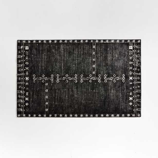 Erria Black Rug 5'x8' - Crate and Barrel