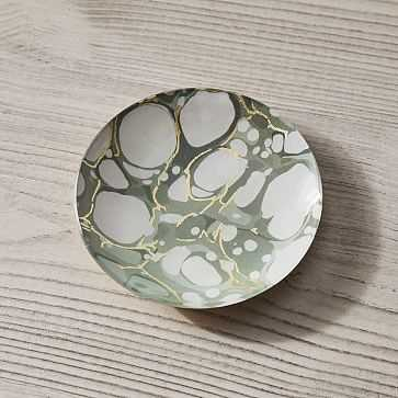 Marbled Decoupage Tray, Green, Round, Small - West Elm