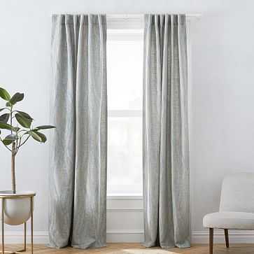 """Bark Texture Jacquard Curtain, Dusty Blue, 48""""x108"""" - West Elm"""