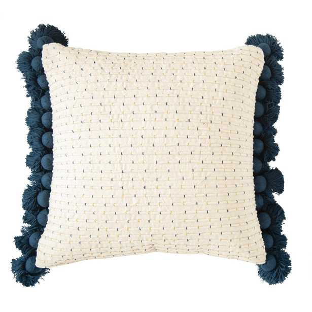 3R Studios Navy and Gold Embroidered Cotton Woven 24 in. x 24 in. Throw Pillow, Blue - Home Depot