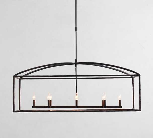 Fallon Forged-Iron Linear Chandelier, Bronze - Pottery Barn