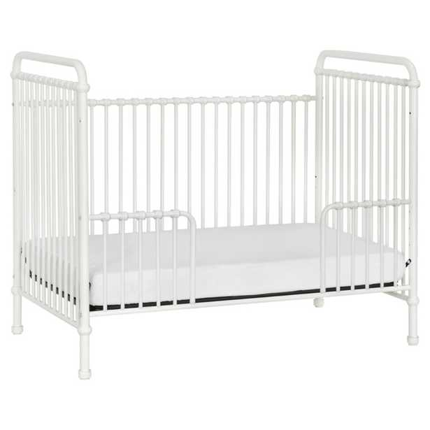 Aurora French Country Washed White Steel Convertible Crib with Kit - Kathy Kuo Home