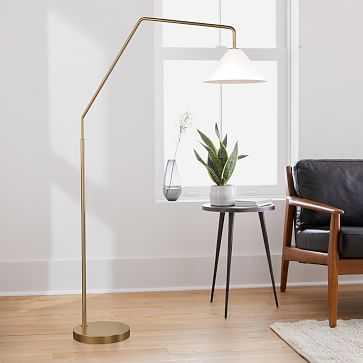 """Sculptural Overarching Floor Lamp, Cone Medium, Milk, Antique Brass, 14"""" - West Elm"""