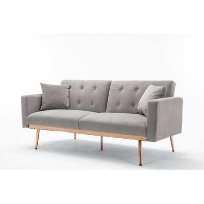 "Patchell 68.11"" Wide Velvet Square Arm Convertible Sofa - Wayfair"