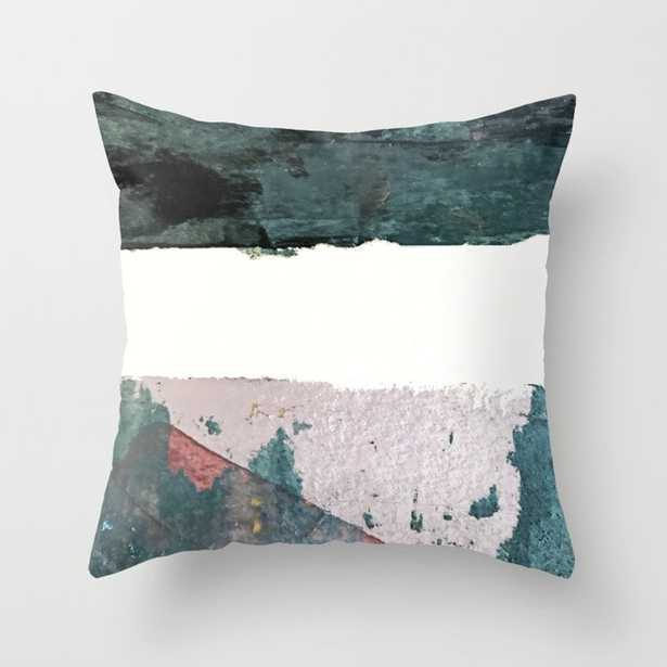 """Between Us: A Minimal, Abstract Mixed-media Piece In Blues, Muted Purple, And Pinks Couch Throw Pillow by Alyssa Hamilton Art - Cover (18"""" x 18"""") with pillow insert - Outdoor Pillow - Society6"""